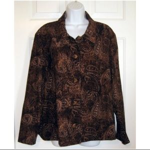 Vtg 90s Boxy Faux Suede Paisley Jacket Browns 1X